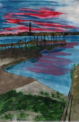 Placid Drawing - Sunset At The Lake Clay Boat Ramp by Beverly Marshall