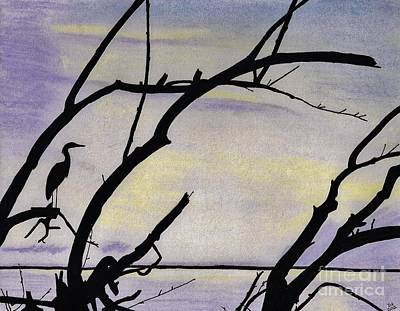 Egret Drawing - Sunset - At The - Lake by D Hackett
