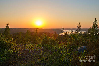 Sunset At The Lake Hiidenvesi Art Print
