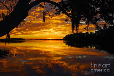 Sunset At The Lake Art Print by Rick Mann