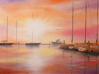 Painting - Sunset At The Marina by Chris Fraser