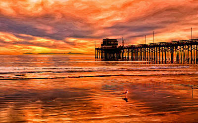 Waterscape Painting - Sunset At The Newport Beach Pier by Michael Pickett