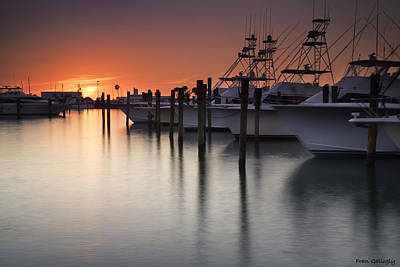 Sunset At The Pelican Yacht Club Art Print by Fran Gallogly