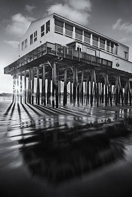 Photograph - Sunset At The Pier Bw by Susan Candelario