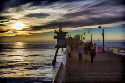 Digital Art - Sunset At The Pier by Photographic Art by Russel Ray Photos