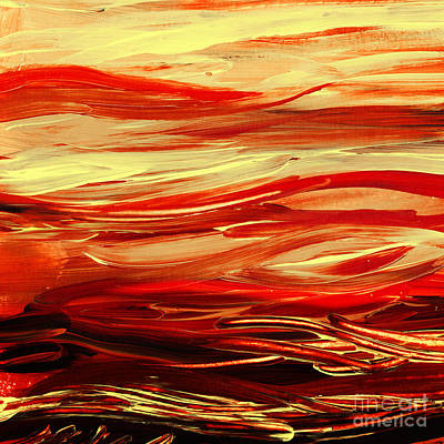 Yellow Painting - Sunset At The Red River Abstract by Irina Sztukowski