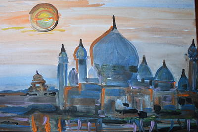 Sunset At The Taj Art Print