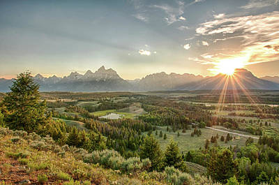 Photograph - Sunset At The Tetons And Hedrick Pond by Ronnie Wiggin