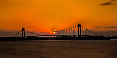 Photograph - Sunset At The Verrazano-narrows  by David Hahn