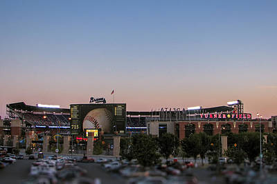 Sunset At Turner Field Art Print