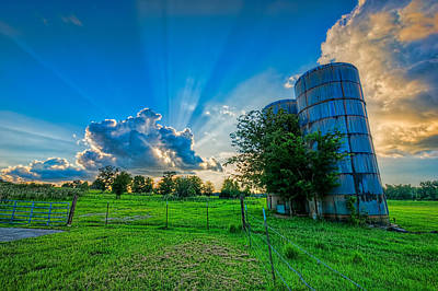 Photograph - Sunset At Two Silos by Lewis Mann