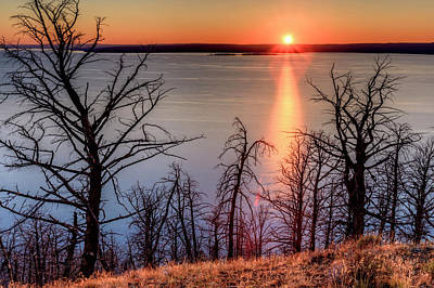 Multihued Photograph - Sunset At Yellowstone Lake by Tom Norring