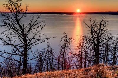 Sunset At Yellowstone Lake Art Print by Tom Norring