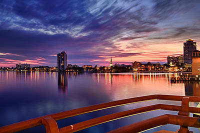 Citiscapes Photograph - Sunset Balcony Of The West Palm Beach Skyline by Debra and Dave Vanderlaan