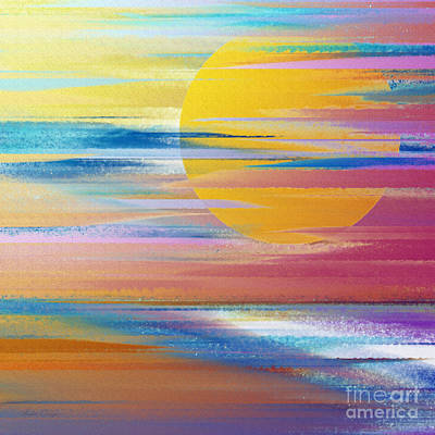 Andee Design Red Digital Art - Sunset Beach by Andee Design