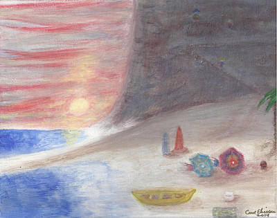 Mountain Climbing Painting - Sunset Beach Bums  by Carol  Eliassen