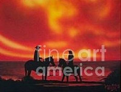 Yvonne Cacy Painting - Sunset Beach Run by Yvonne Cacy