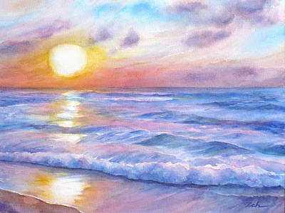Painting - Sunset Beach Hawaii Seascape  by Janet  Zeh