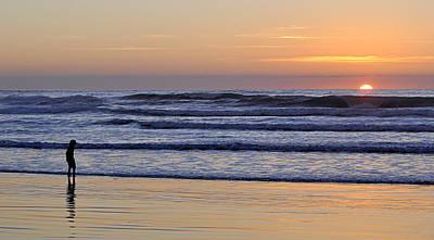 Art Print featuring the photograph Sunset Beach Stroll  by AJ  Schibig