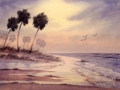 Painting - Sunset Beach Tarpon Springs by Bill Holkham