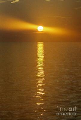 Photograph - Sunset Beacon Off The Coast Of Louisiana Usa by Michael Hoard