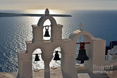 Bell Photograph - Sunset Behind A Belfry In Santorini Island by George Atsametakis