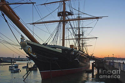 Portsmouth Photograph - Sunset Behind Hms Warrior by Terri Waters