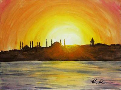 Bosphorous Painting - Sunset Behind Sultanahmet by Rebecca Davis