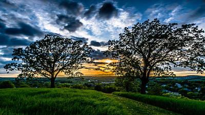 Sunset Between The Oaks Art Print by Randy Scherkenbach