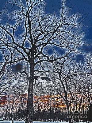 Sunset Beyond The Bare Trees High Contrast Paintography Art Print