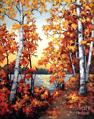 Painting - Sunset Birch View by Inese Poga