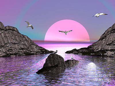 Sunset Birds In Flight Art Print