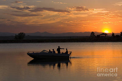Steven Krull Royalty-Free and Rights-Managed Images - Sunset Boat Fishermen by Steven Krull