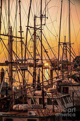 Landscapes Royalty-Free and Rights-Managed Images - Sunset Boat Masts at Dock Morro Bay Marina Fine Art Photography Print sale by Jerry Cowart