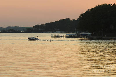 Steven Krull Royalty-Free and Rights-Managed Images - Sunset Boating by Steven Krull