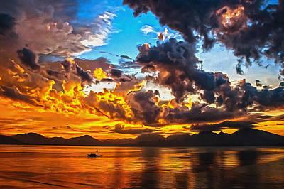 Digital Art - Sunset Boating by Georgiana Romanovna