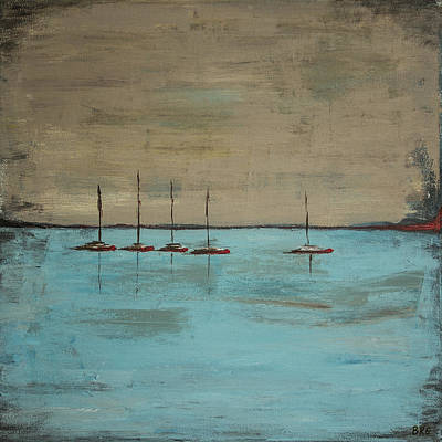 Painting - Sunset Boats by Ben Gertsberg