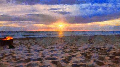 Myrtle Beach Painting - Sunset Bonfire On The Beach by Dan Sproul