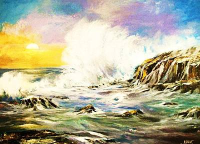 Painting - Sunset Breakers by Al Brown