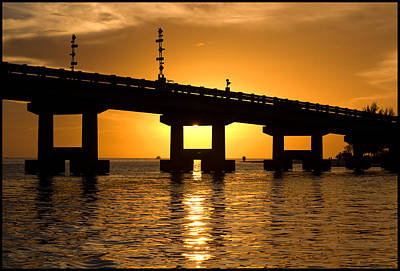 Photograph - Tropical Sunset Behind Bridge by Ginger Wakem