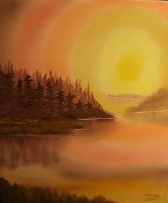 Bob Ross Painting - Sunset Brown Island  by James Waligora