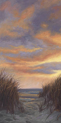 Sunset By The Beach Art Print by Lucie Bilodeau