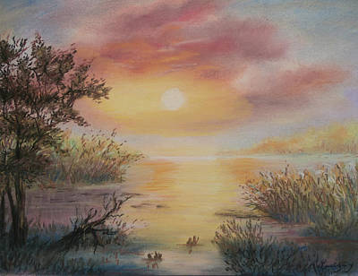 Painting - Sunset By The Lake by Katalin Luczay