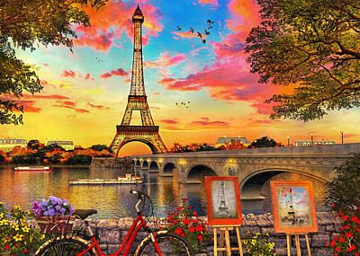 Painting - Sunset By The Seine by Dominic Davison