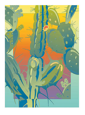 Sunset Cactus Art Print