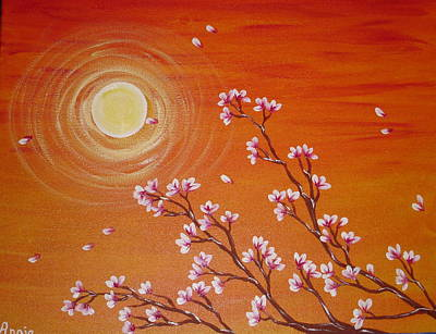 Sunset Cherry Blossoms Art Print by Angie Butler