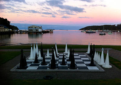 Sunset Chess At Half Moon Bay Art Print