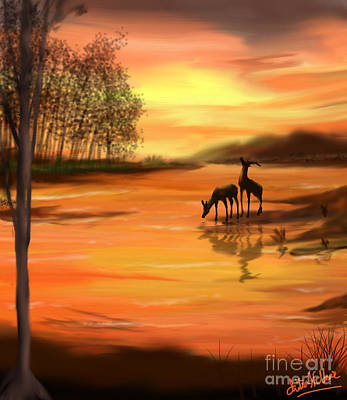 Digital Art - Sunset by Chitra Helkar