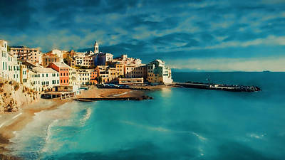 Art Print featuring the painting Sunset Cinque Terre by Douglas MooreZart