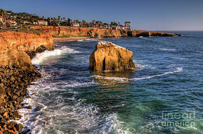 Waves Crashing Photograph - Sunset Cliffs by Eddie Yerkish